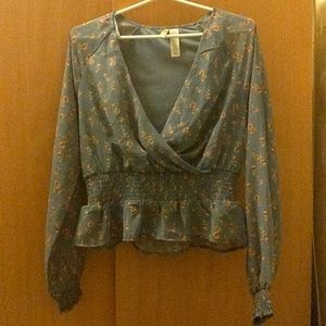 Japna grey floral blouse